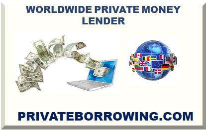 Worldwide Private Money Lender